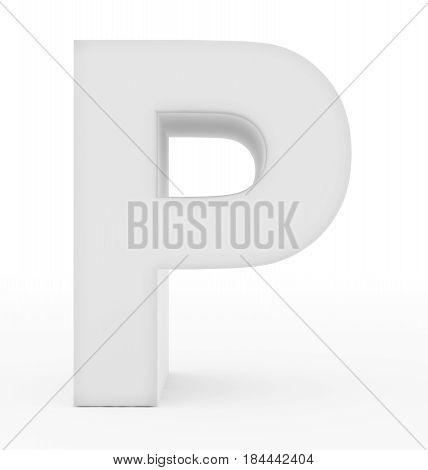 Letter P 3D White Isolated On White