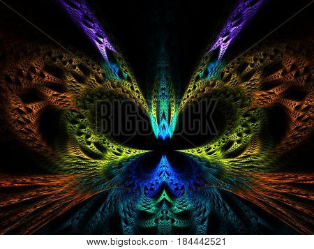 An abstract computer generated modern fractal design on dark background. Abstract fractal color texture. Digital art. Abstract Form & Colors. Abstract fractal element pattern for your design. colorful fractal butterfly