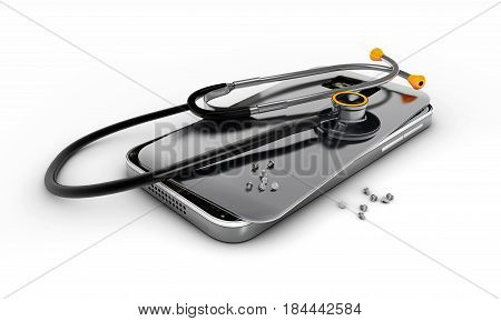 3D illustration Mobile phone repair Broken mobile phone with stethoscope.