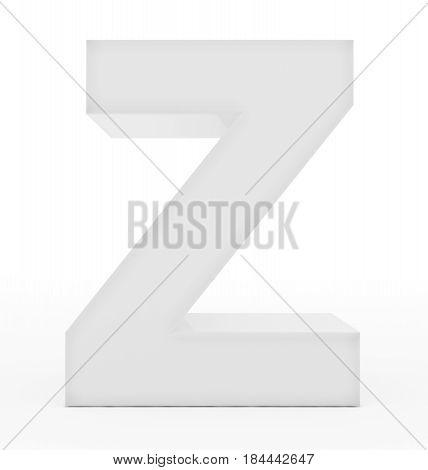 Letter Z 3D White Isolated On White