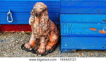 Old Figurine Of A Dog, Figurine With Blue Wooden Stairs, English Cocker Spaniel