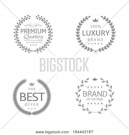 Laurel wreath icons. Premium quality, Luxury brand, Brand of the year, Best offer