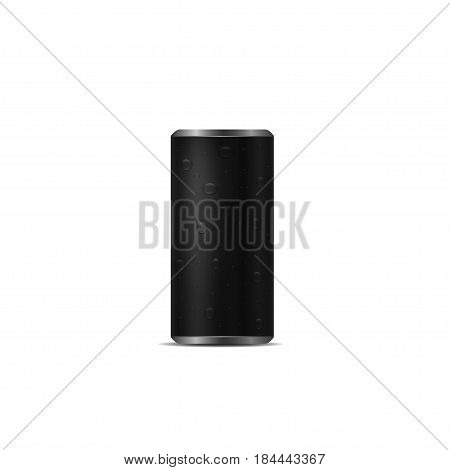 Black Aluminum drink can with drops over white background