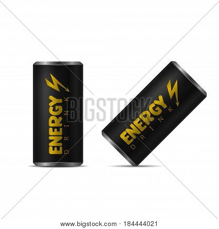 Energy drink contained in black can with lightning logo