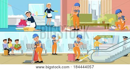 Cleaning company service horizontal banners with professional employees working at home and airport passenger terminal vector illustration