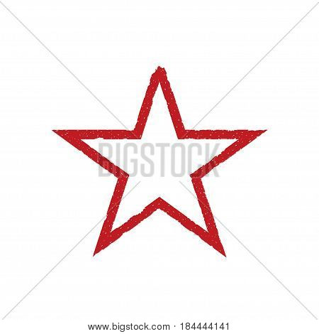 Grunge red heart. Christmas sign, communism label. Award and victory symbol