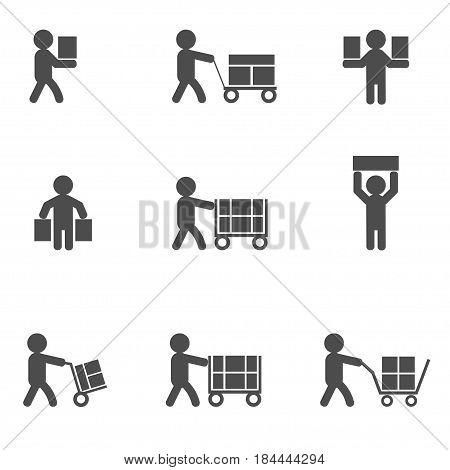 Loader man icons. Heaver or courier silhouette icon set