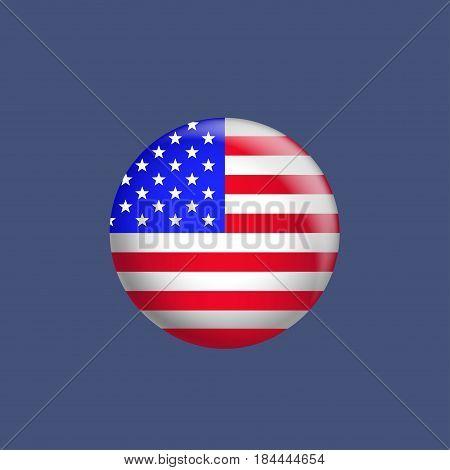 USA flag badge. American national emblem, glory and pride symbol