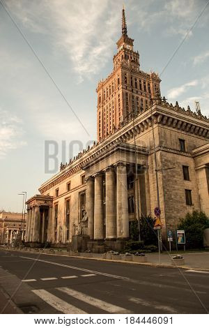 Warsaw historical architecture - Palace of Culture and Science. Monumental skyscraper in Warsaw city, Poland. Socialism symbol. Photo taken on: May 21st, 2014