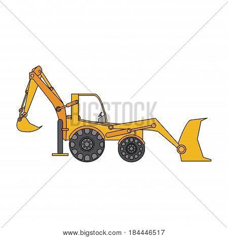 color image cartoon industrial machine excavator vector illustration