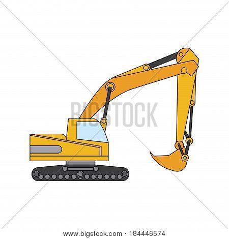 color image cartoon construction heavy machine excavator vector illustration