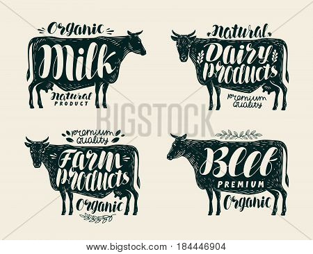 Food label set. Cow, bull, beef, milk, farm animals, dairy products icons or logos. Lettering calligraphy vector illustration