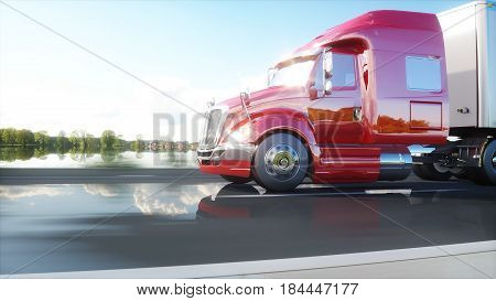 semi trailer, Truck on the road, highway. Transports, logistics concept 3d rendering