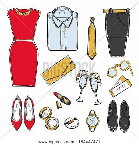 Colored doodle evening wardrobe elements collection with male and female clothes accessories cosmetic items cocktails tickets isolated vector illustration