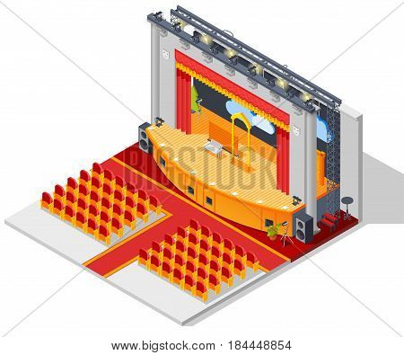 Theatre interior isometric concept with seats stage and curtains vector illustration