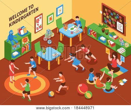 Kindergarten interior isometric composition with children busy mobile games education and creativity vector illustration