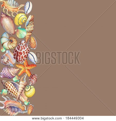 Border  with underwater life objects. Marine design. Hand drawn watercolor painting on brown background.