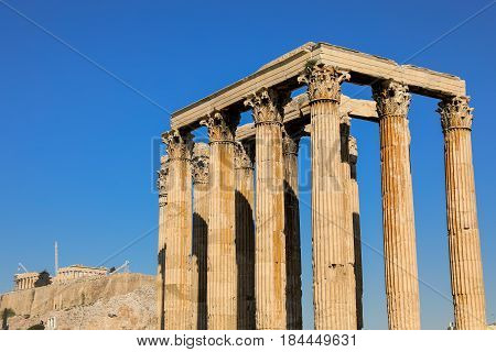 Temple of Olympian Zeus and Acropolis Hill, Athens Greece, spring 2017. Horizontal. Close-up.