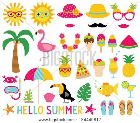 Summer design elements and photo booth props set