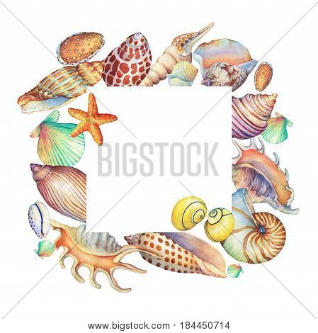 Square frame with underwater life objects. Marine design. Hand drawn watercolor painting on white background. Element for invitations, posters, greeting cards, blogs.