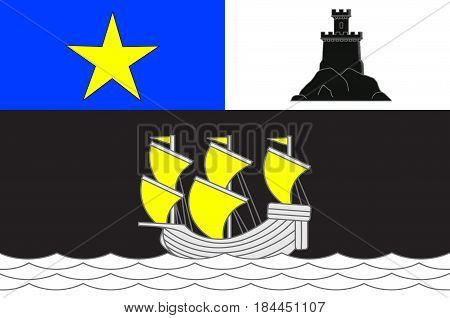 Flag of Rochefort is a commune in southwestern France a port on the Charente estuary. It is a sub-prefecture of the Charente-Maritime department. Vector illustration