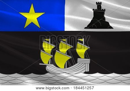 Flag of Rochefort is a commune in southwestern France a port on the Charente estuary. It is a sub-prefecture of the Charente-Maritime department. 3D illustration