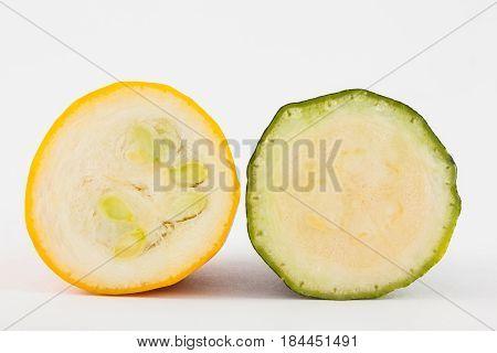 Zucchini (Cucurbita pepo) isolated in white background