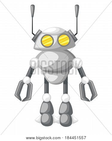 Funny Isolated Robot Different Future Robots Isolated On White. Flat Vector Illustration New Technol