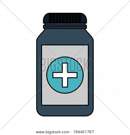 color image cartoon remedy bottle with lid and label vector illustration