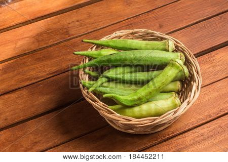 Brazilian Okra Into A Basket