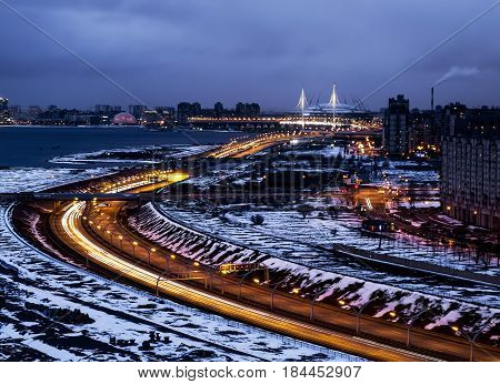 Saint-Petersburg.Russia.16 April 2017. View on ring road and St Petersburg arena with height in St. Petersburg.