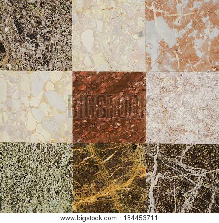 Different types of marble. Marble texture, marble background for interior or exterior design. Marble motifs that occurs natural. Selective focus