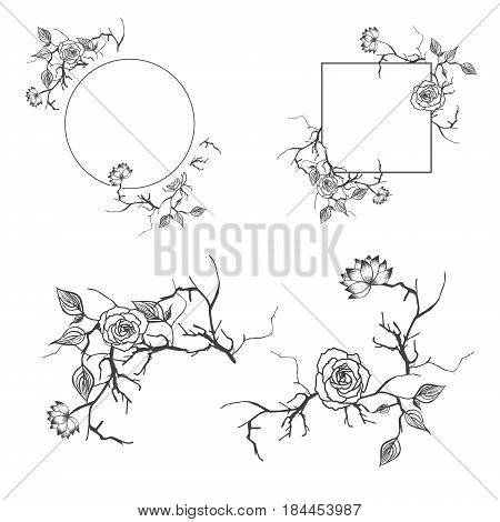 Floral Decorative Border and Frame Set With Copyspace