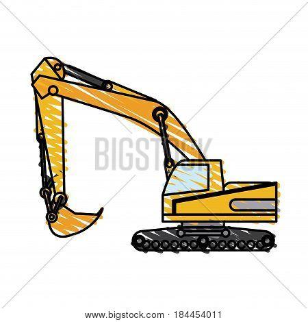 color crayon stripe construction heavy machine excavator vector illustration
