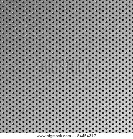Metal seamless background vector steel pattern with holes dark grey carbon steel vector metal grid