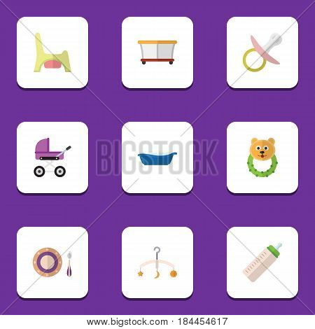 Flat Child Set Of Nipple, Bathtub, Playground And Other Vector Objects. Also Includes Potty, Pram, Child Elements.