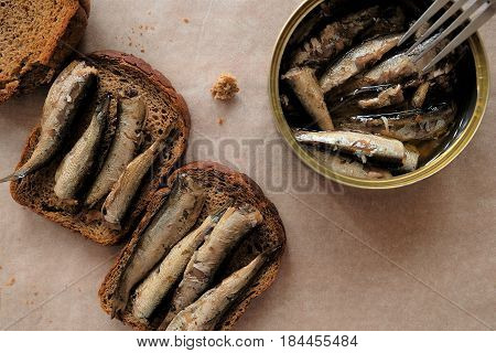 Russian sandwich with sprats to Russian traditions