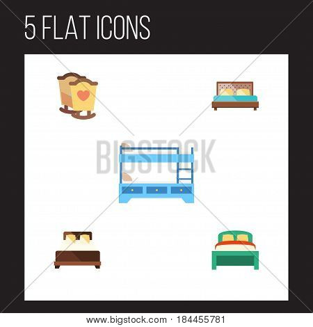 Flat Bed Set Of Bunk Bed, Mattress, Furniture And Other Vector Objects. Also Includes Bedding, Child, Mattress Elements.