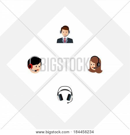 Flat Telemarketing Set Of Earphone, Service, Hotline And Other Vector Objects. Also Includes Hotline, Headset, Call Elements.