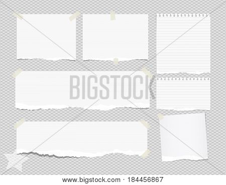 Ripped white note, notebook, copybook paper sheets stuck with sticky tape on squared gray background and star on corner.