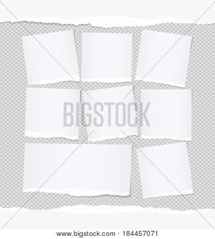 Ripped white note, notebook, copybook paper sheets stuck on squared gray background.