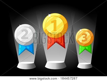Gold Silver Bronze Medal Icon In Flat Style. Isolated Medal On The White Background. Vector Illustra