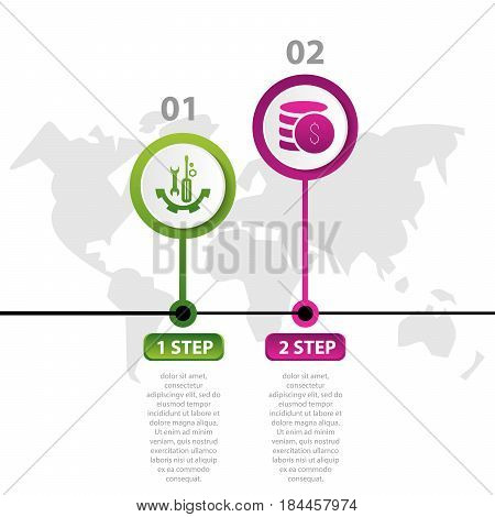 Vector Illustration. Infographic Pattern With The Image Of 2 Circles, In The Form Of A Drop. 3D Styl