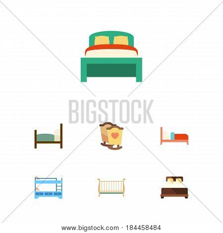 Flat Bed Set Of Bearings, Bunk Bed, Cot And Other Vector Objects. Also Includes Furniture, Bunk, Mattress Elements.