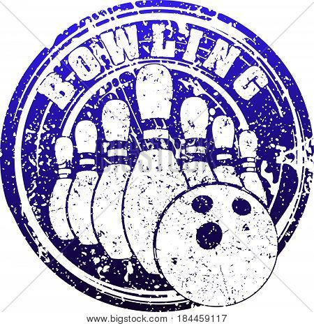 Abstract blue bowling design with skittles and bowling ball in rubber stamp grunge style.