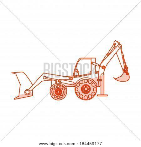 orange silhouette shading industrial machine excavator vector illustration