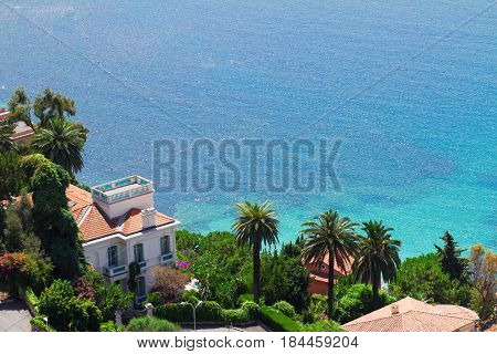 turquiose water of cote dAzur french riviera coast from above, France