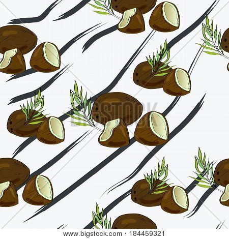 Seamless vector pattern of hand drawn coconuts and palm leaves. Tropical background.