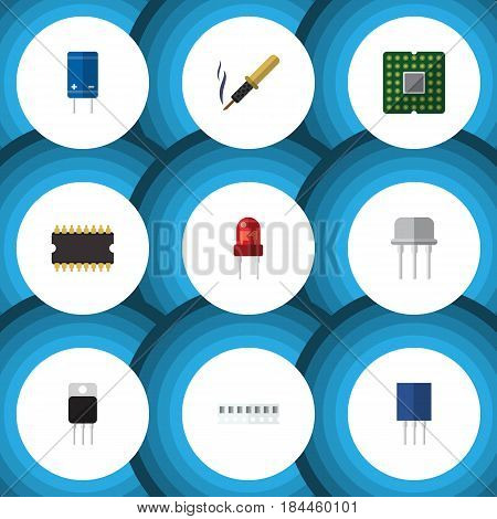 Flat Device Set Of Memory, Receptacle, Transistor And Other Vector Objects. Also Includes Random, Unit, Fiildistor Elements.