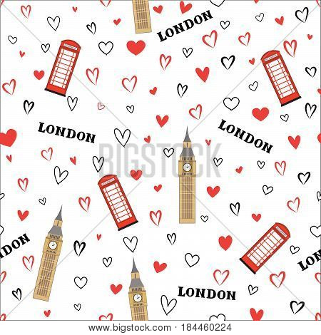 Travel GB seamless pattern. London vacation wallpaper. Travel Europe background. English Landmark tiled grunge pattern.